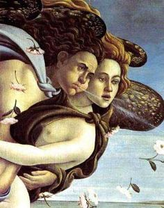 Birth of Venus Detail Botticelli _ Zephrus, God of Winds, and the gentle breeze Aura