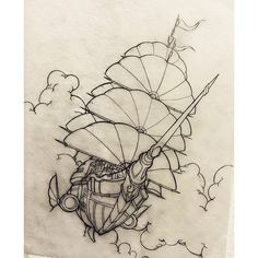 Here be an #airship #drawing by Peter Smith (@screaming_tiki_studios) and her name be the Black Ghost! Flyin' on the Four Winds with dual #turbine engines she be a mighty fine #steampunk #ship. Yar! (Sorry got a little carried away with the pirate-speak...) Nice work Peter!