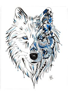 Tribal Wolf by ArtByAshley95 on Etsy