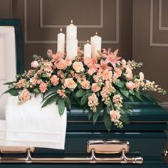 Peaceful Pink Casket Spray… I like adding non-floral accents to casket pieces. Casket Flowers, Grave Flowers, Cemetery Flowers, Church Flowers, Funeral Flowers, Funeral Floral Arrangements, Church Flower Arrangements, Funeral Caskets, Funeral Sprays
