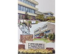 Southern Illinois University Edwardsville LIMITED EDITION Pen and Ink and Watercolor Art Print Illustration - Graduation Gift, university by CollegeArtStoeckley on Etsy