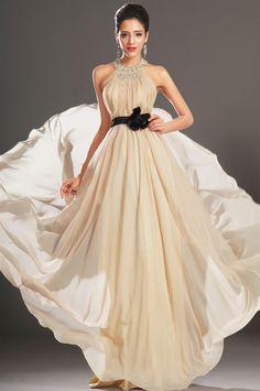 osell wholesale dropship Chiffon Pleated Pearl Halter Sleeveless Brush Train A Line Evening Prom Dress $66.42