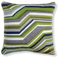 Green zigzag pillow from the bargello (needlepoint) collection by designer Jonathan Adler. Available at a href=http://www.jonathanadler.comjonathanadler.com/a.