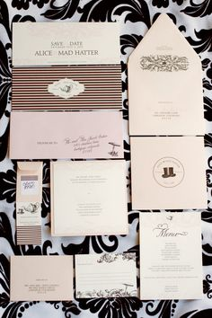 blush and black mad hatter themed stationary suite