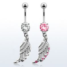 Surgical Steel Crystal Dangling Wing Belly Ring | eBay