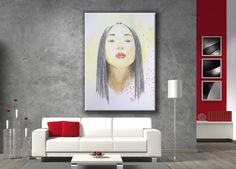 Red dots for this cool asian girl fashion poster print. Great beauty salon or office decor idea!