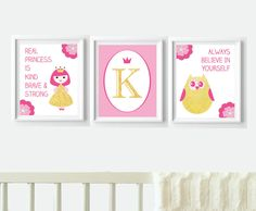 Personalized Pink and Gold Nursery Decor - Princess Owl Letter Digital Print Bundle  - instant download by VigiCreativeStudio on Etsy