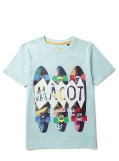 Boys Light Blue Skateboard Print T-Shirt - Boys New Arrivals - Kids - BHS