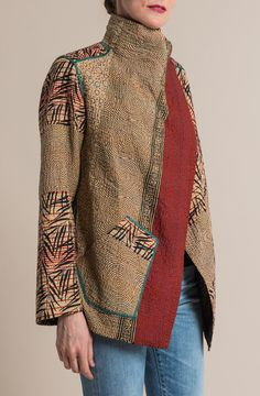 $785.00   Mieko Mintz 4-Layer Soho Bamboo Fitted Jacket in Red/Natural   Mieko Mintz creates clothing from vintage saris, which are upcycled into new fashion. The reversible clothing is an artful multi-pattern combination of by Mieko that is then made into kantha fabric. Sold online and in-store at Santa Fe Dry Goods in Santa Fe, New Mexico.