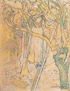 Girl picking Apple, Jan Toorop