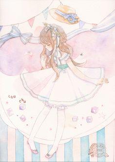 ✮ ANIME ART ✮ anime. . .lolita fashion. . .ribbons. . .watercolor. . .pastel. . .cute. . .kawaii