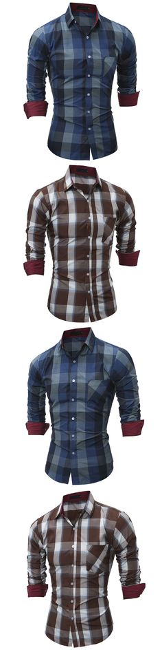 Fashion Ameican Classic Plaid printed men's slim fit M-2XL young man shirts full sleeve casual boy clothing drop shipping