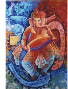 ' Om is first in brahmanda ( Universe ), creator of om is Ganesha. In this painting, Om is painted in the background like brahmanda and Ganesha playing mridangam. ' - Painted by Kirtiraj Mhatre Modern Art Paintings, Paintings For Sale, Original Paintings, Original Art, Lord Ganesha Paintings, Ganesha Art, Hindu New Year, Dancing Ganesha, Indian Gods