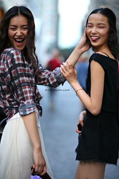 Liu Wen and Xiao Wen Ju after Anna Sui, New York, September 2013