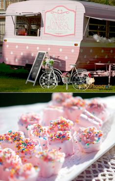 Vintage High Tea themed birthday party with tons of ideas! Including a traveling high tea teahouse made from a retro camping trailer! SO cute! Via Kara's Party Ideas KarasPartyIdeas.com