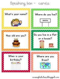 "ALL ABOUT ME - Speaking cards : FREE ELL ESL Activity Cards This resource includes several cards with the most common personal information questions. Ideal for ""Back to school"" activities. English Activities For Kids, Learning English For Kids, English Worksheets For Kids, Kids English, Back To School Activities, English Lessons, Teaching English, Learn English, English Lesson Plans"