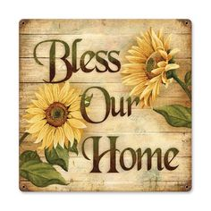 Bless Our Home Sunflowers plasma cut metal art sign 18 x 18, vintage style, country home decor garage art PS by HomeDecorGarageArt on Etsy
