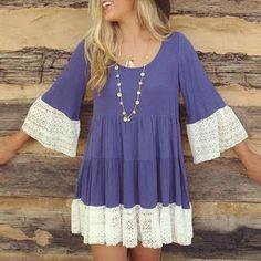 Stylish Ladies Women 3/4 Sleeve High Waist Lace Patchwork Mini Loose Casual Dress