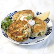 Crab Cakes with Horseradish Cream Recipe at Cooking.com:  looks amazing!