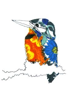 Free-machine embroidered Kingfisher by Wildgoose Designs
