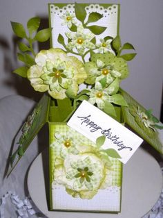 GREEN FLOWERS CARD IN A BOX by Glamour - Cards and Paper Crafts at Splitcoaststampers
