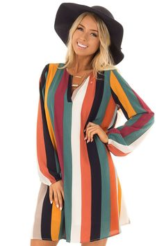 Multi Color Striped Woven Dress with Bishop Sleeves Cute Boutiques, Bishop Sleeve, Fabulous Dresses, Color Stripes, Boutique Dresses, Lush, Rompers, Stitch, Sleeves