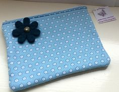 Blue Zip Pouch with Felt Flower Design