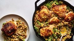 One-Skillet Chicken with Buttery Orzo Recipe | Bon Appetit