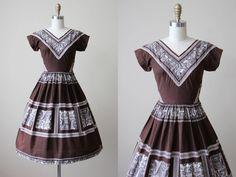 50s Dress - Vintage 1950s Dress - Novelty Print Egyptian Royalty Cotton Full Skirt Sundress XS - Nile Lotus Dress by jumblelaya on Etsy