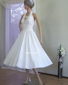 Ann - Raw Silk Vintage Inspired Wedding Dress. Retro Tea Length.