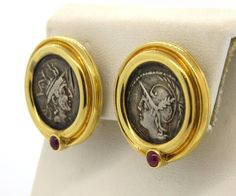 Ancient Coin Ruby Gold Earrings  | From a unique collection of vintage more earrings at https://www.1stdibs.com/jewelry/earrings/more-earrings/