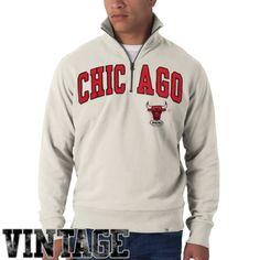 7cec2f8b6 NBA  47 Brand Chicago Bulls Striker Quarter-Zip Vintage Fleece Sweatshirt -  Sand Chicago
