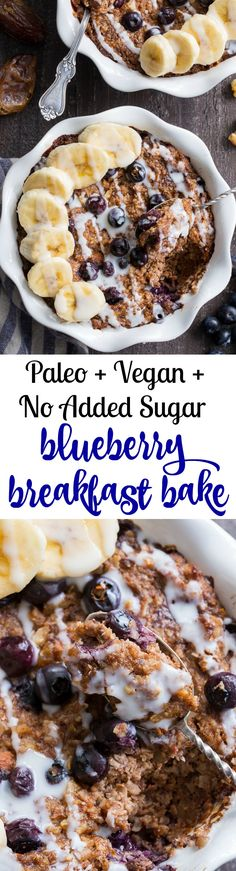 "This Blueberry ""Oatmeal"" Breakfast Bake has a flavor and texture reminiscent of baked oatmeal, yet it's grain free and paleo!  It's a perfect option for breakfast when you want something naturally sweet but want to keep things clean.  It's also egg free, vegan and contains no added sugar."