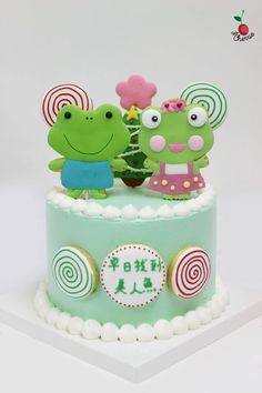 Little Froggies Birthday Cake with a touch of Christmas Decoration