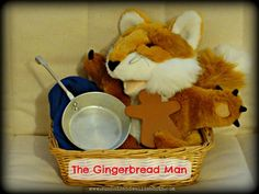 The Gingerbread Man Story Basket Wooden figure - Gingerbread man Small metal frying pan Fox glove puppet Blue cloth - to represent the river (Optional: add small world figures to represent the characters the Gingerbread Man meets along the way) Preschool Literacy, Preschool Books, Preschool Christmas, Early Literacy, Literacy Bags, Preschool Ideas, Gingerbread Man Story, Gingerbread Man Activities, Traditional Tales