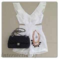 Romper, necklace and bag.