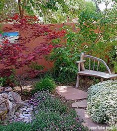 ShadeScaping / Creating a sitting area using a Redleaf Japanese Maple Atropurpureum - what a nice, cool spot to locate a bench so you can enjoy the beauty of a japanese maple