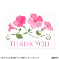 Shop Floral Thank You Flowers Pink Fuchsia & White Postcard created by merrybrides.