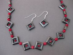 Red Swarovski Hematite Necklace and Earrings Set Handmade - pinned by pin4etsy.com