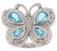 Swiss Blue Topaz & Diamond sterling butterfly ring