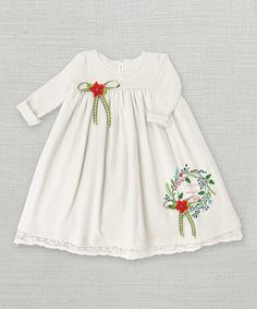 Another great find on #zulily! Ivory Jolly Holly Dress - Infant #zulilyfinds