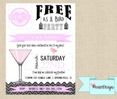 Divorce Party Invitation by MoauroDesigns on Etsy https://www.etsy.com/listing/473273763/divorce-party-invitation