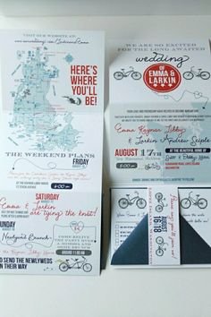 Cute And Casual Bike Fun Unique Wedding Weekend Invitation With RSVP Mad  Lib And Customized Map.
