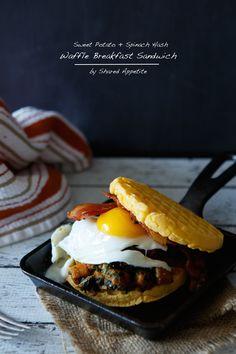 Sweet Potato and Spinach Hash Waffle Breakfast Sandwich (Breakfast On The Go) #4morewaffles #shop #cbias