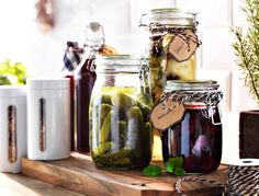 Store your pickling and preserve projects in a IKEA KORNEN jar with an airtight lid. It'll keep the contents fresh, and the see-through jar means you'll have no problem finding them when it's time to dig in.