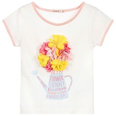 Girls lovely ivory t-shirt by Billieblush, with beautiful pink and yellow flower appliqués on the front above a print of a flower pot. Made in soft cotton jersey, it is trimmed in pink and has the designer's fabric logo tab sewn into one side seam.