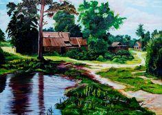 """Elizabeth Künsting Paisaje rural óleo sobre tela de 70 x 50 cms. ¡¡¡Felicitaciones!!! Es el primer cuadro de Elizabeth en el taller. Esperaremos el pxo. desafío. (réplica """"libre"""")"""