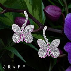 Graff Diamonds (@graff) on Instagram: Our delicate and playful new Mini Princess Butterly jewels present pavé diamonds and vivid baguette cut gemstones, hand-set to form a sculptural butterfly silhouette. #GraffDiamonds #PrincessButterfly #GraffButterfly #DiamondEarrings