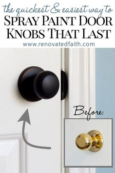Best Guide to Spray Paint Door Knobs that LAST - Refinishing old door hardware (. Best Guide to Spray Paint Door Knobs that LAST – Refinishing old door hardware (knobs, hinges and Home Improvement, Diy Home Repair, Updating House, Diy Home Improvement, Diy Home Decor, Home Diy, Painted Doors, Bronze Spray Paint, Home Projects