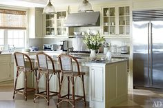 A Nantucket Home Renovation : kitchen architectural digest Home Kitchens, Pastel Room, Kitchen Design, White Kitchen Design, House, Bistro Stools, Home Decor, Architectural Digest, Home Renovation